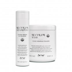 Zestaw Be Color Be Hair Maska 1000 ml + Szampon 300 ml do włosów farbowanych z kawiorem, keratyną i kolagenem