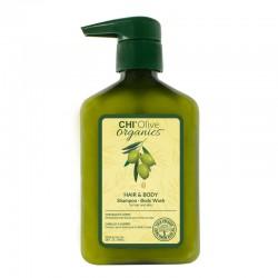 CHI Olive Organics Hair & Body Shampoo Szampon i żel do mycia ciała z oliwą z oliwek i jedwabiem – 710 ml