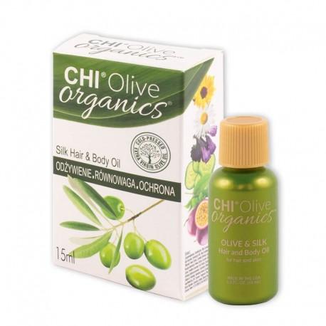 CHI Olive Organics Olive & Silk Hair and Body Oil Oliwka nawilżająca do włosów i ciała z oliwą i jedwabiem – 15 ml
